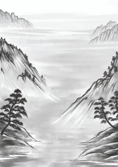 垂懸的紙捲樣式Sansui圖片例證