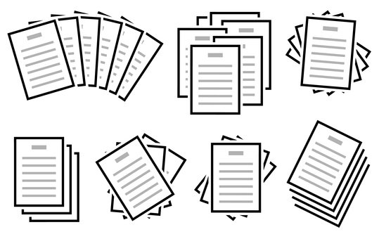 Multiple sets of various documents