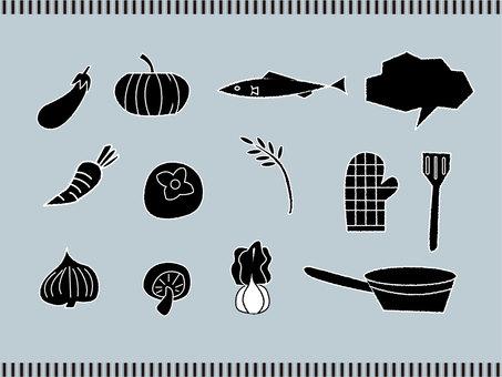 スタンプ風食材イラスト