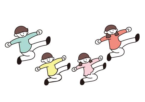 活潑的家庭插畫(踢)