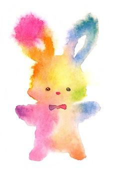 蓬鬆的兔子彩虹透明水彩手繪