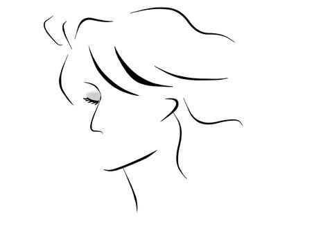 女性黑白插圖