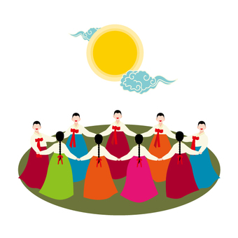 婦女在千葉jeogori中跳舞