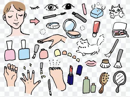 Hand-painted_cosmetic beauty line drawing