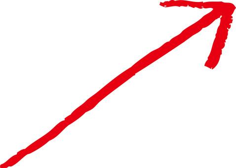 手繪箭頭向上向上紅色