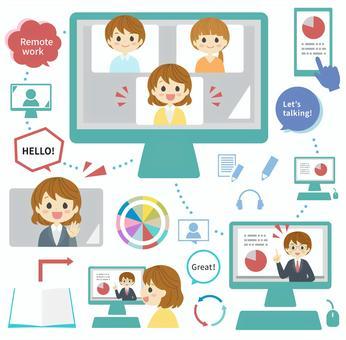 リモートワーク/オンライン会議をする人々