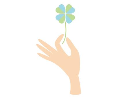 手和三叶草
