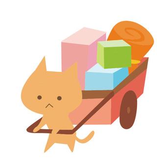 引っ越し-荷車を引く猫