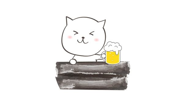 Cat toasting with beer
