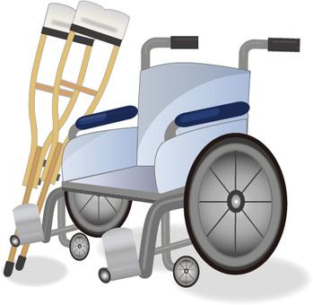 轮椅和拐杖