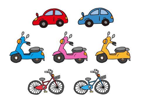 車・自転車・スクーターのアイコンセット