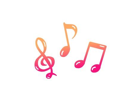 Musical notes (on-register & pink gradation)