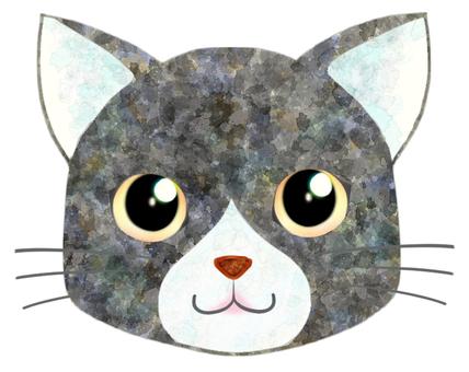 貓臉(灰/白)3
