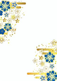青色の和花と雲のフレーム縦透過アリ
