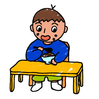 孩子吃米飯