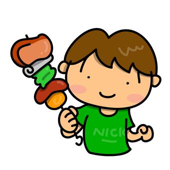 A boy who enjoys BBQ