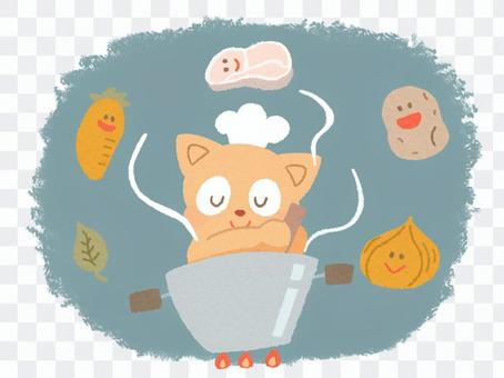 Illustration of a cat making curry 1