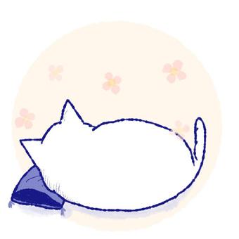White cat with rice cake _ Nap