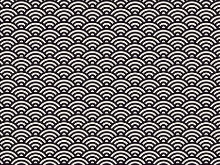 日本紋青海波浪紋黑白