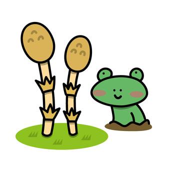 Tsukushi和青蛙的例證