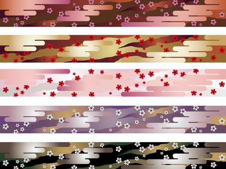 無縫的日本模式設置日本模式的雲朵和李子