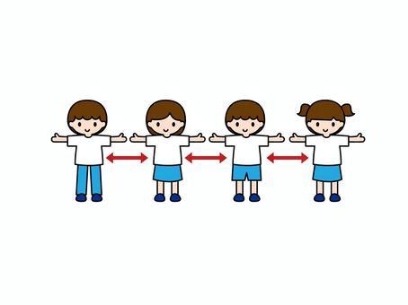伸開雙手並拉開距離的孩子2