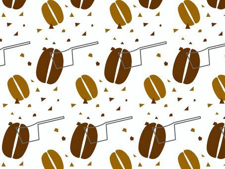 コーヒー豆と粉と計量スプーンのパターン