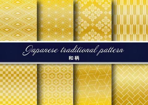 日本花紋花紋黃金8種
