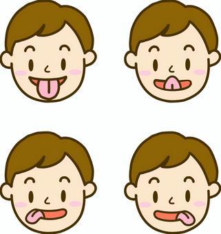 男孩做舌頭體操
