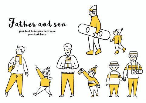 父親和孩子的illustration_set