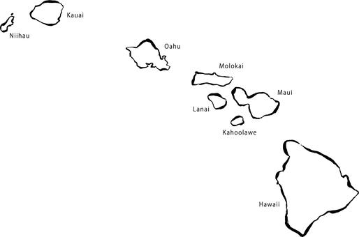ハワイ(筆地図)