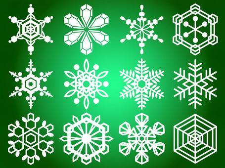 Snowflake (green background)