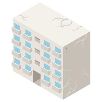 Isometric dilapidated housing complex illustration