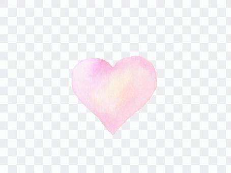 心標記粉紅色水彩手繪