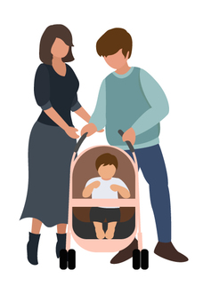 父母和孩子推嬰兒車