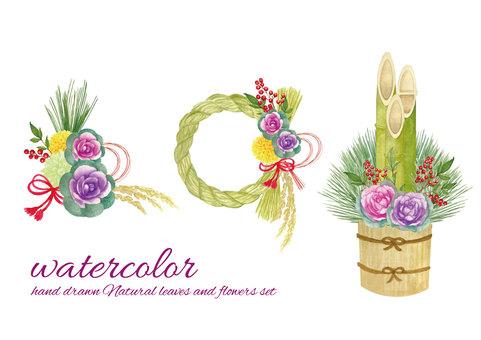 水彩葉牡丹裝飾品