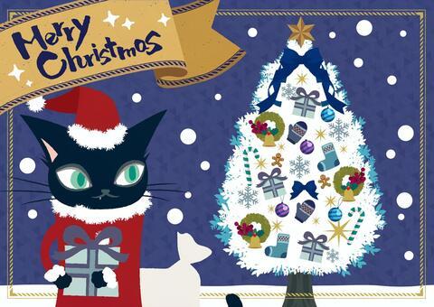 貓聖誕老人和聖誕樹