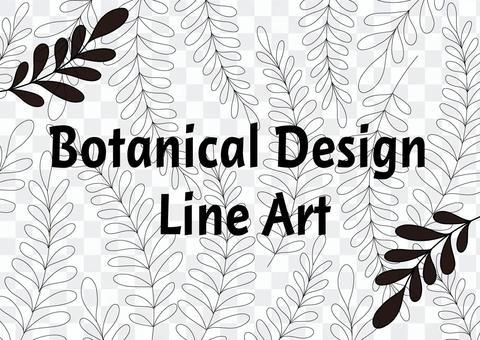 葉線畫植物單色框架