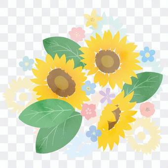 可用於慶典等的向日葵花束套裝。