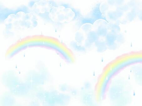 雨の空 虹のアーチ