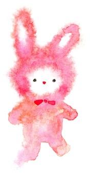粉色兔子蓬鬆水彩流血手繪
