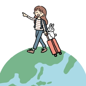 A woman and a rabbit traveling the world