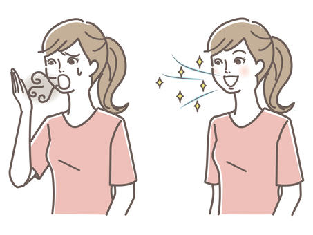 A woman suffering from bad breath and a woman with a refreshing breath