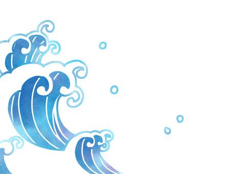 Watercolor Japanese style wave splash