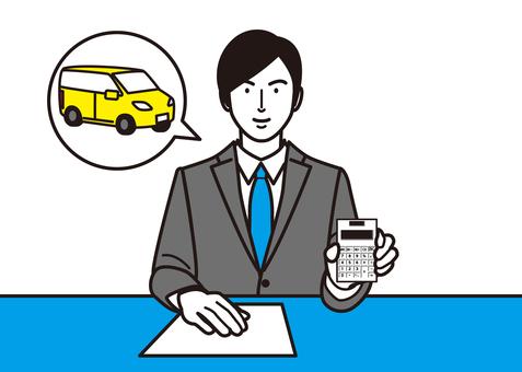顯示汽車和計算器的商人