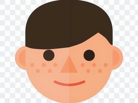 一個有雀斑的男孩的臉