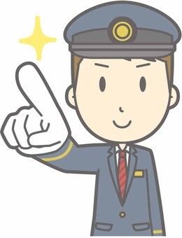 Station staff male a - finger pointing confirmation - bust