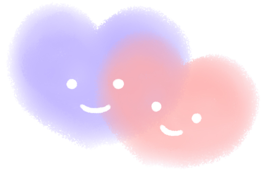 ふんわりハート(ブルーとピンク)