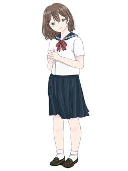 Girl full body illustration in sailor suit