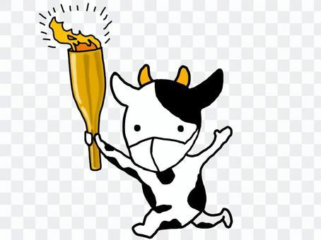牛用火炬揮舞著奔跑_10